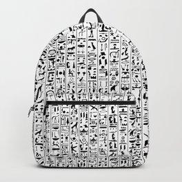 Hieroglyphics B&W / Ancient Egyptian hieroglyphics pattern Backpack