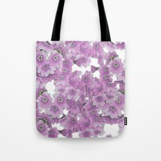 Pink Flowers on White Tote Bag