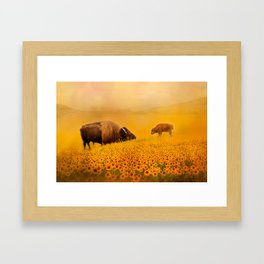 Bison Dad and Baby in Sunflowers Framed Art Print