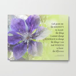 Serenity Prayer Clematis Purple Green Metal Print