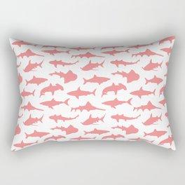 Light Coral Sharks Rectangular Pillow