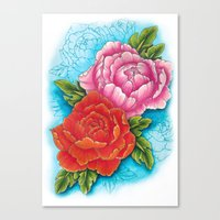 peonies Canvas Prints featuring peonies by missfortunetattoo