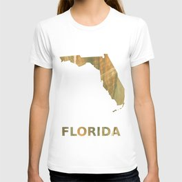 Florida map outline Brown green colored watercolor pattern T-shirt