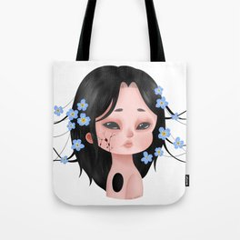 Looming Darkness: Forget-Me-Not - Girl with Flowers Tote Bag