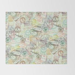 Passport Stamps Throw Blanket
