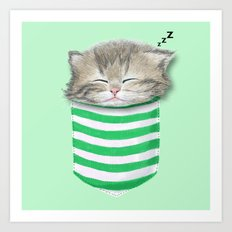Cat in the Pocket Art Print