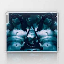 Blue David - Michelangelo's The David geometric photo collage Laptop & iPad Skin