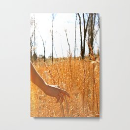 Hands Through Gold Metal Print