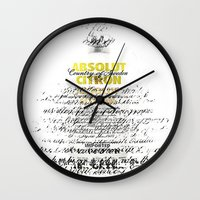 vodka Wall Clocks featuring Graphic Vodka  by MarianaLage
