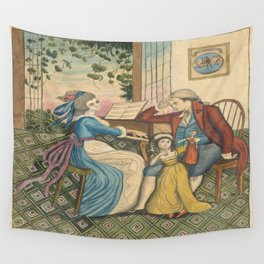 Classical Musical Family Illustration Wall Tapestry