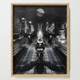 Poster with a biker on a motorcycle in the form of an angel looking into the distance of the urban v Serving Tray