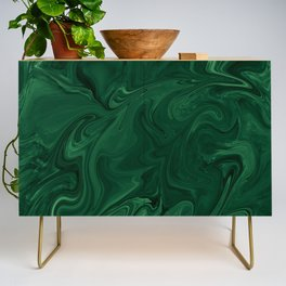 Modern Cotemporary Emerald Green Abstract Credenza