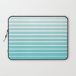 Ombre Stripes - Caribbean Blue and White Laptop Sleeve