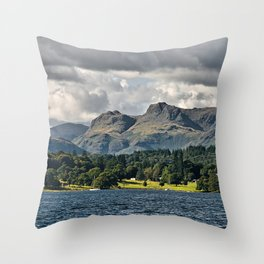 The Langdale Hills from Windermere, Lake District Throw Pillow