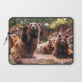 Spectecular Group Gracious Grizzly Bears Sitting In Habitat Waving At Camera Ultra HD Laptop Sleeve