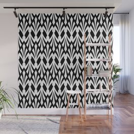 Decorative Plumes - White on Black Wall Mural