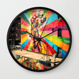 Street Art Mural, Times Square Kiss Recreation  Wall Clock
