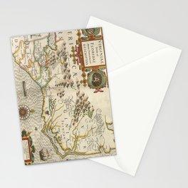 Vintage Map of North Carolina (1638) Stationery Cards