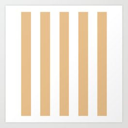Pale gold pink - solid color - white vertical lines pattern Art Print