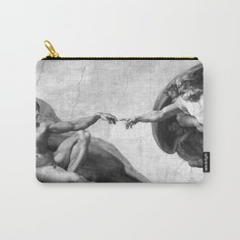 Black and White Creation of Adam Painting by Michelangelo Sistine Chapel Carry-All Pouch