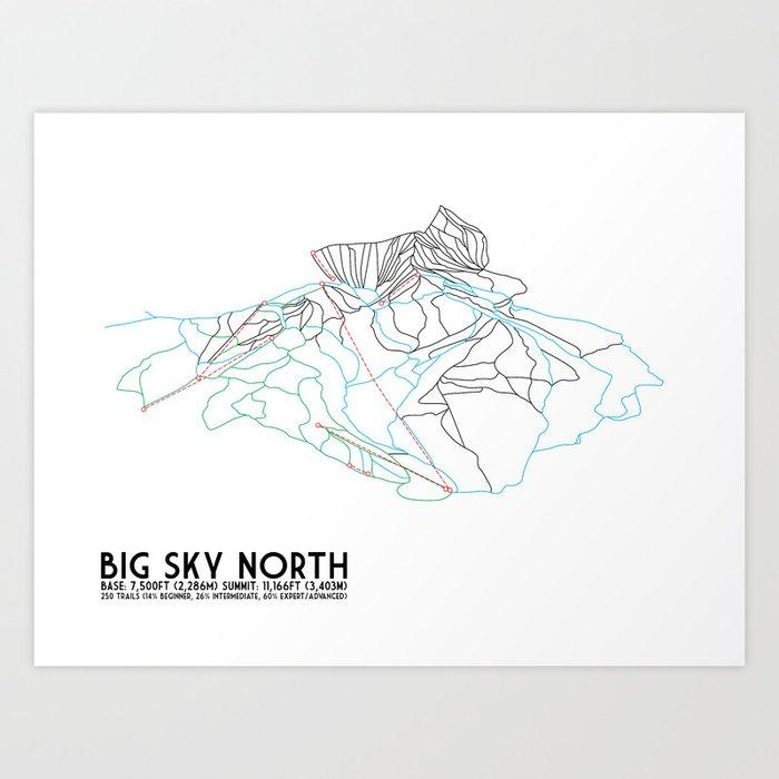 Big Sky, MT - Northern Exposure - Minimalist Trail Map Art Print by  circlesquarediamond