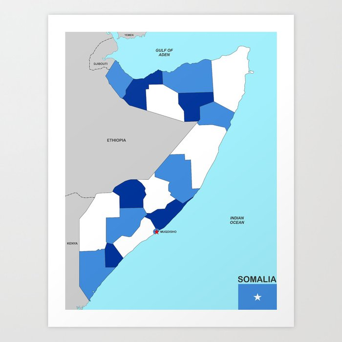 political map of somalia country with flag Art Print by tony4urban on