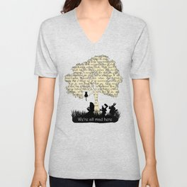 We're All Mad Here II - Alice In Wonderland Silhouette Art Unisex V-Neck