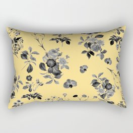 Black and White Floral on Yellow Rectangular Pillow