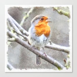 Angelic Robin Watercolor Canvas Print