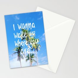 Wake Up Palm Love Quote Stationery Cards