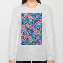 Modern abstract teal coral pink navy blue floral Long Sleeve T-shirt
