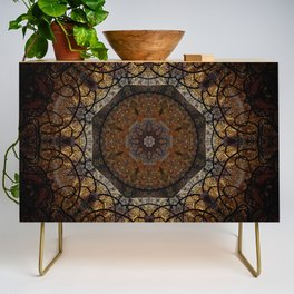 Rich Brown and Gold Textured Mandala Art Credenza
