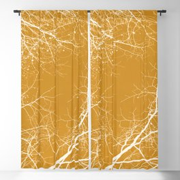 Branches Impressions on Yellow Blackout Curtain