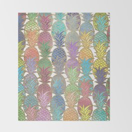 Colorful Watercolor and Gold Pineapple Pattern Throw Blanket