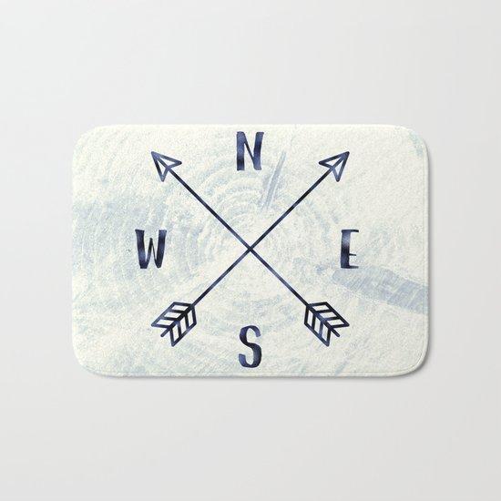 Compass in Navy Blue Bath Mat