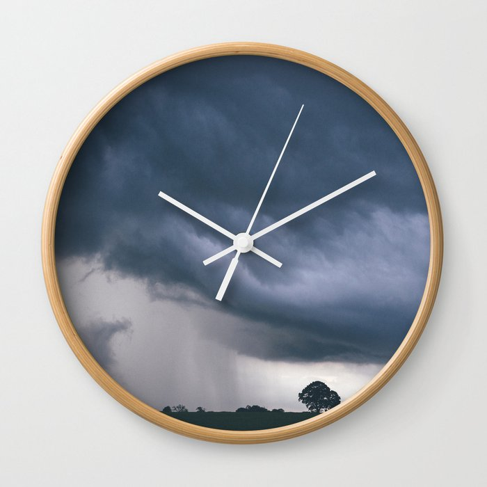 Evening Thunder Storm And Clouds Over Rural Scene West Acre Norfolk Uk Wall Clock