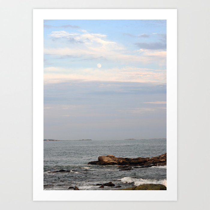 The Moon Over the Ocean Art Print