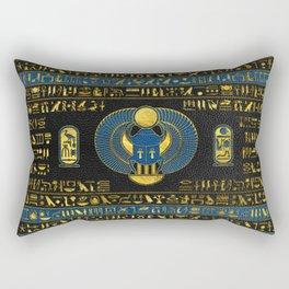 Golden Egyptian Scarab Ornament on  leather Rectangular Pillow