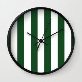 Jumbo Forest Green and White Rustic Vertical Cabana Stripes Wall Clock