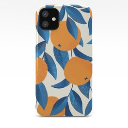 Vintage oranges on a branch with leaves hand drawn illustration pattern iPhone Case