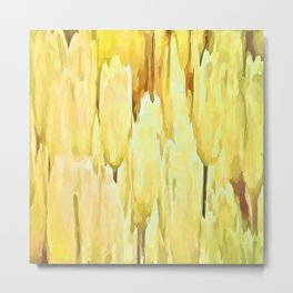 Pale Yellow Tulips Abstract Floral Pattern Metal Print