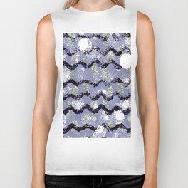 Modern abstract black white lilac floral geometrical Biker Tank