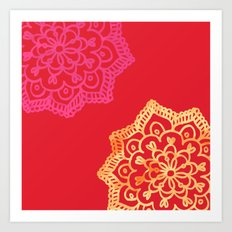 Happy bright lace flower - red Art Print
