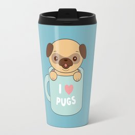 Kawaii Cute I Love Pugs Travel Mug