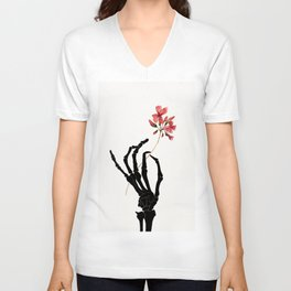 Skeleton Hand with Flower Unisex V-Neck