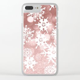 Winter white rose gold snowflakes glitter bokeh Clear iPhone Case