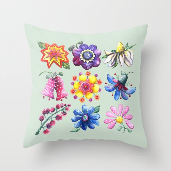 Pretty Flowers All in a Row Green Throw Pillow