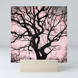Tree Silhouette - Pink Mini Art Print