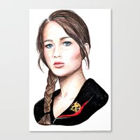 katniss Canvas Prints featuring Katniss. by Annie Mae Herring