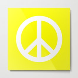 Peace (White & Yellow) Metal Print